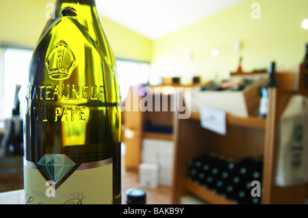 bottle with moulded relief on the neck wine shop le cellier des princes chateauneuf du pape rhone france - Stock Photo