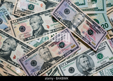 Selection of US dollar notes of various denominations - Stock Photo