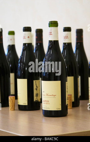 bottle with moulded relief on the neck domaine de longue toque gigondas rhone france - Stock Photo