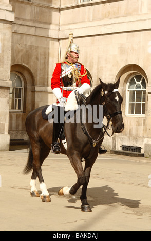 London member of the Life Guards part of the Household Cavalry on parade at Horse Guards Parade in Whitehall London - Stock Photo