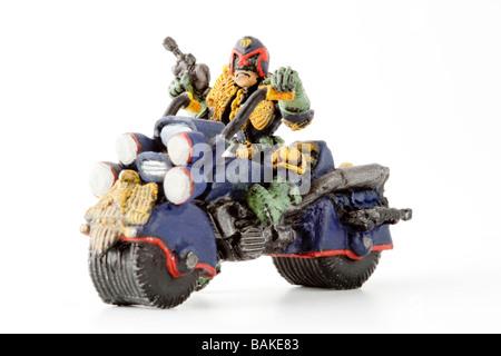 Figure of Judge Dredd from british comic book 2000 AD - Stock Photo
