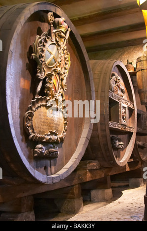 old antique carved wooden vat unterlinden museum colmar alsace france - Stock Photo
