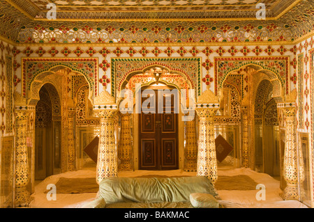 Jaipur City Palace Museum of Sawai Man Singh II inside the Chandra Mahal Rajasthan India - Stock Photo