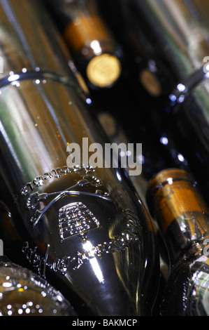 bottle with moulded relief on the neck domaine giraud chateauneuf du pape rhone france - Stock Photo