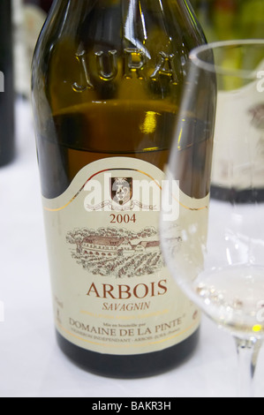 bottle with moulded relief on the neck savagnin domaine de la pinte arbois france - Stock Photo