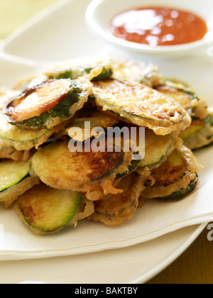courgettes in batter - Stock Photo