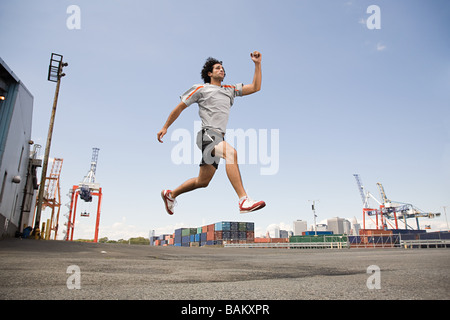 Man athlete jumping - Stock Photo