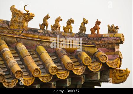 Roof in forbidden city beijing - Stock Photo