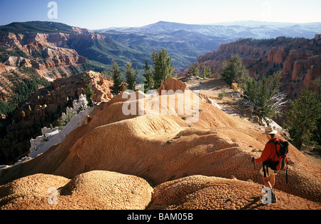 Hiker at cedar breaks national monument - Stock Photo
