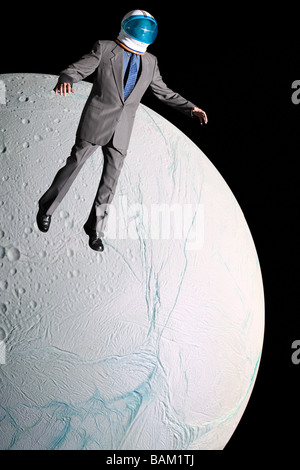 Businessman in outer space - Stock Photo