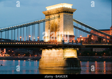 Szechenyi chain bridge budapest - Stock Photo