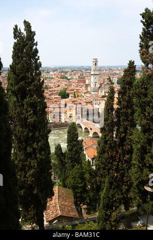 Verona old town and ponte pietra - Stock Photo