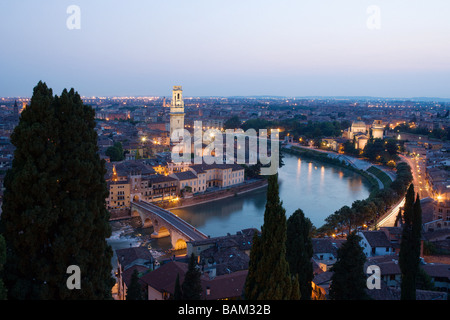 Aerial view of verona old town and river adige - Stock Photo