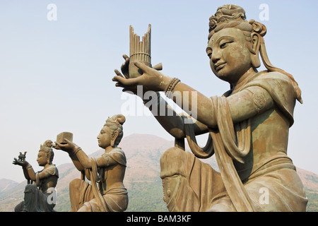 Statues near tian tan buddha - Stock Photo