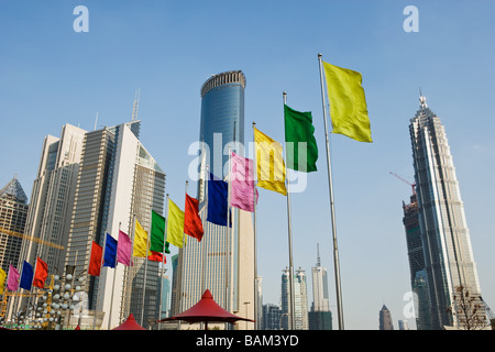 Skyscrapers and flags in pudong - Stock Photo
