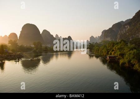 Yulong river and karst landscape - Stock Photo
