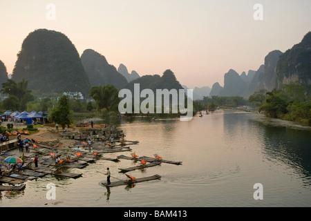 Rafts on yulong river - Stock Photo