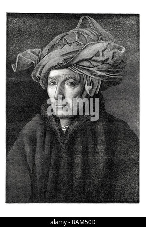 portrait of a gentleman painted by Jan van Eyck - Stock Photo