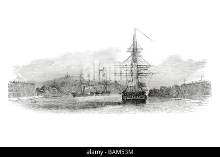 war steamer hermes burmese king s ship hms fox 1851 port harbour coast dock sail sailing boat wind ship waves - Stock Photo