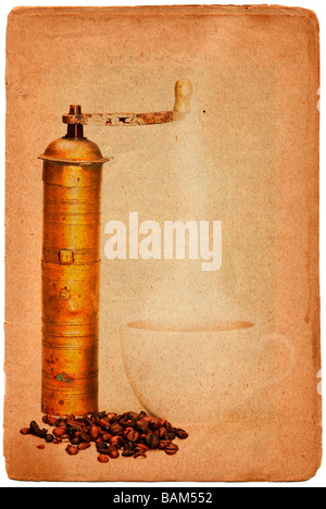 Coffee grinder, coffee beans and cup of hot black coffee in grunge style - Stock Photo