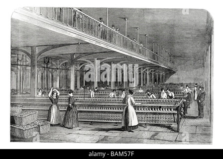 dean mills the doubling room with workers at time of Prince Albert's Visit to Barrow Bridge Halliwell, Deane, Lancashire, - Stock Photo