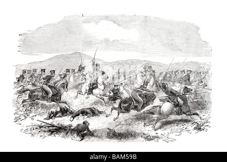 conflict between the tenth 10th hussars and the cossacks at kertch - Stock Photo