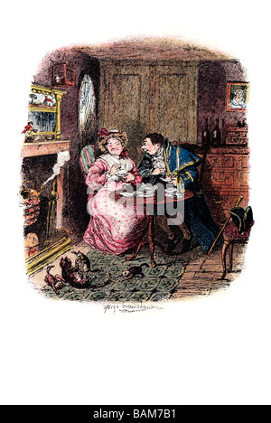 mr bumble and mrs corney taking tea the last chance Oliver Twist (1838) is Charles Dickens' second novel. The book - Stock Photo