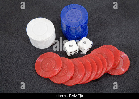 A loser Dice showing snake eyes or a double one for a total of two spots - Stock Photo