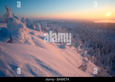 Finland, Lapland Province, Kuusamo, Ruka Jarvi, sunrise over the Taiga - Stock Photo