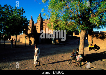 Mali, Mopti Region, Djenné, old city listed as World Heritage by UNESCO, Great Mosque, the biggest mosque made of - Stock Photo