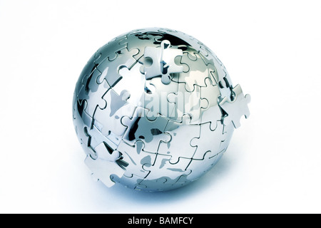 Global solution-Globe puzzle - Stock Photo