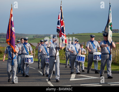 Jimmy Steele Memorial flute band from Burnbank in Lanarkshire marching in Dalry, Ayrshire, Scotland. - Stock Photo