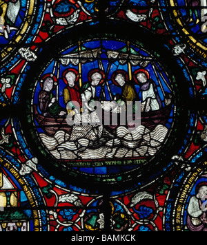 Canterbury Cathedral stained glass panel Christ and Disciples Fishing - Stock Photo