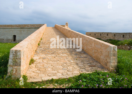 Rebuilt ruins at Fortezza the fortress in Rethymno Crete Greece Europe - Stock Photo