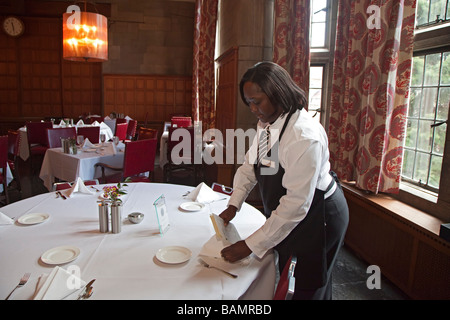 Waitress at Private Club at University of Chicago - Stock Photo