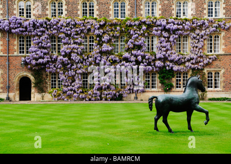 Horse Sculpture in First Court, Jesus College, Cambridge, England, Uk - Stock Photo