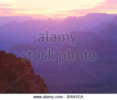 View west at sunset from Cape Royal North Rim Grand Canyon National Park Arizona - Stock Photo