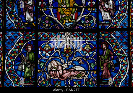 Canterbury Cathedral stained glass window (early 13thc corona) panel from the Tree of Jesse - Stock Photo