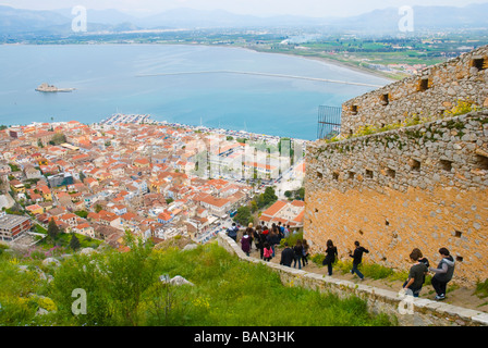 People coming down from Palamidi fortress in Nafplio Peloponnese Greece Europe - Stock Photo