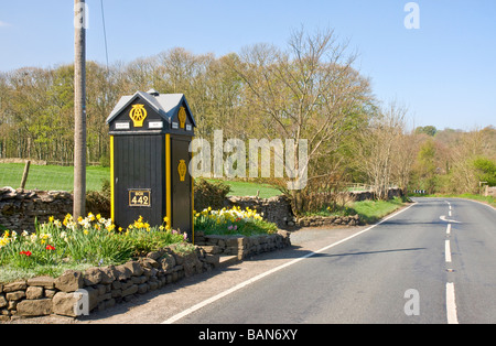 Old AA telephone box at the road side near Aysgarth, Wensleydale, North Yorkshire - Stock Photo