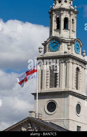 Flag of St . George & Union Jack , St. Martin in the Fields , London , England , UK - Stock Photo