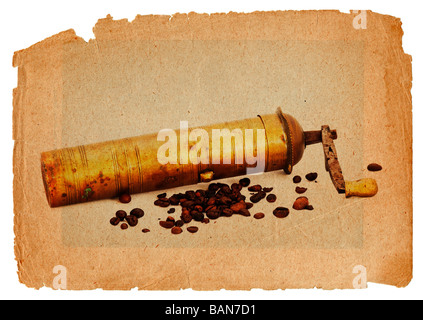 Antique coffee grinder with coffee beans in grunge style - graphic - design - Stock Photo