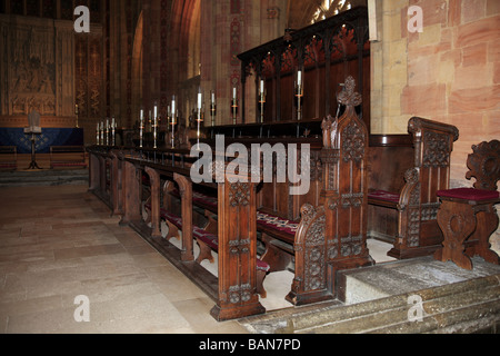 Choir Stalls in the medieval Sherborne Abbey Dorset - Stock Photo