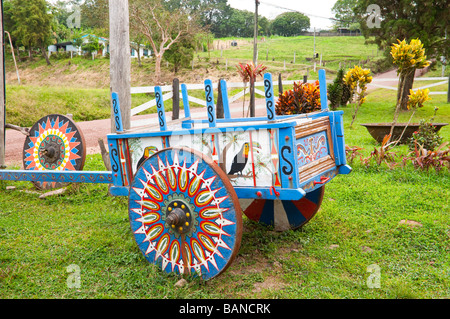 A decorated blue ox cart in the village of El Dos de Tillaram in Costa Rica Central America - Stock Photo
