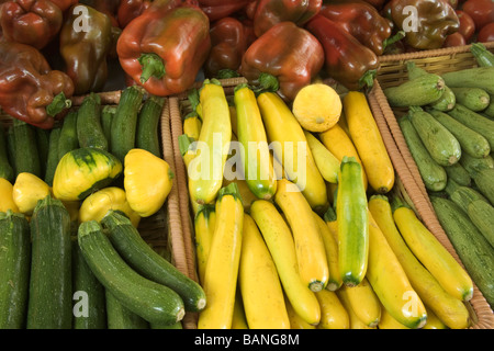 Harvested yellow & green Zucchini squash,  Bell Peppers - Stock Photo