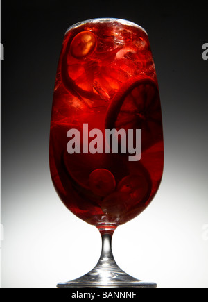 Sangria with Ice and Chunks of Fruit - Stock Photo