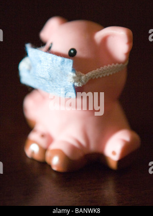 concept shot, swine flu, pig wearing mask to protect self from humans - Stock Photo