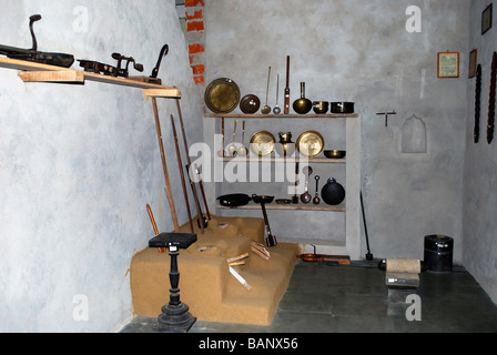 Kerala rural household utensils, at Manav Sangrahalaya, Bhopal, Madhya Pradesh, India. - Stock Photo