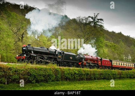 The engine Royal Scot Ex LMS 4 6 0 No 6100 built in 1930 double headed with a Stanier Black 5 loco No 44801 - Stock Photo