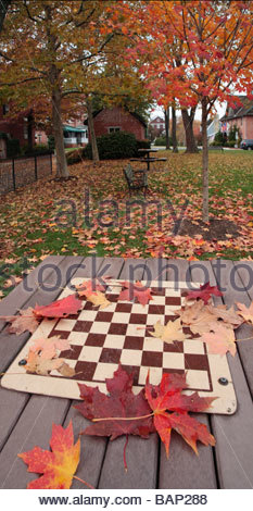 Leaves lie on a chess table on the mews at the Kentlands community in Maryland - Stock Photo